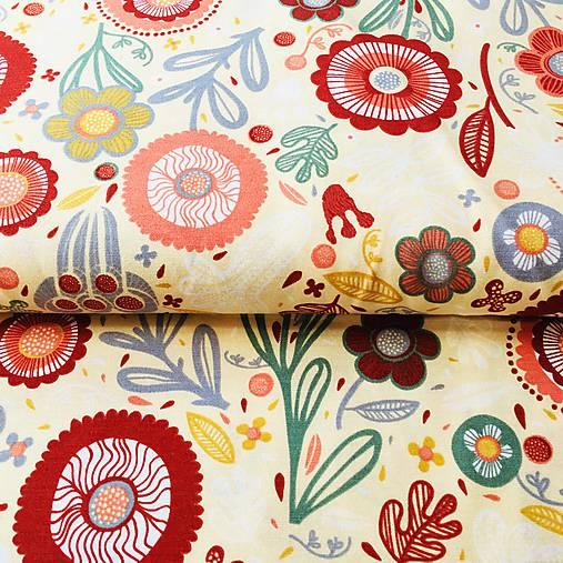 pevná bavlnená dekoračná látka Kreslené kvety, šírka 140 cm