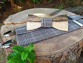 Doplnky - Pánsky drevený motýlik a traky - 11229914_