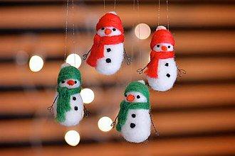 Dekorácie - Snehuliačiky na vianočný stromček, 4ks - 11229401_