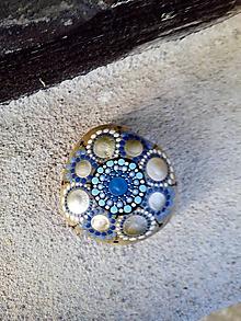 Drobnosti - Modrý kvietok - Na kameni maľované - 11229983_