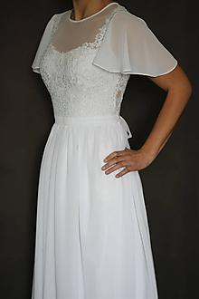 Šaty - Svadobné šaty s volánovými rukávmi - 11227983_