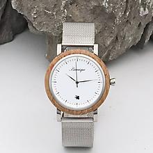 Náramky - Barrique Grapevine drevené hodinky s kovovým remienkom - 11228856_