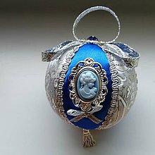 Dekorácie - Vianočná guľa modrá so závesom - 11230890_
