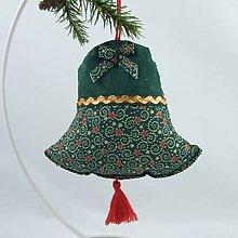 Úžitkový textil - TAMARA - zlato zeleno červená klasika - vianočný zvonček 13x13 - 11227557_