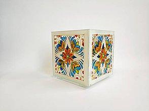Svietidlá a sviečky - Sklenený svietnik maľovaný - slovenský vzor - 11229753_