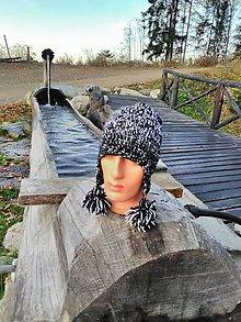 Čiapky - Ručne pletené čiapky (Čierno-biela) - 11229512_