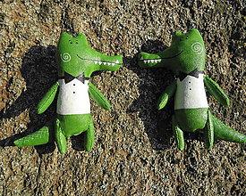 Odznaky/Brošne - krokodíl-džentlmen - 11229887_
