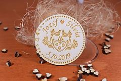 Darčeky pre svadobčanov - Drevená svadobná magnetka Ľudový motív 5 - 11228805_