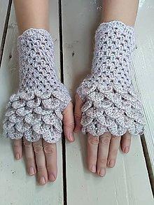Rukavice - Háčkované rukavice kašmírové s perličkami - 11230234_