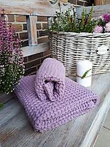 Úžitkový textil - Ľanová osuška a uterák Lavender - 11230550_