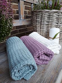 Úžitkový textil - Ľanový uterák Pastel Shades II (Modrá) - 11230490_