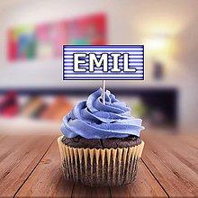 Papiernictvo - Proste obdĺžnikové menovky na koláčik (pásiky) - 11227593_