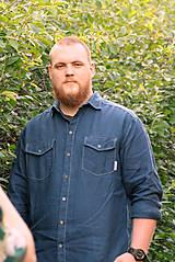 Oblečenie - ZĽAVA! Ľanová košeľa Leslav modrá s vreckami - 11233365_