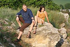 Oblečenie - ZĽAVA! Ľanová košeľa Leslav modrá s vreckami - 11233366_
