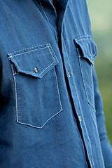 Oblečenie - ZĽAVA! Ľanová košeľa Leslav modrá s vreckami - 11233367_