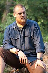Oblečenie - ZĽAVA! Ľanová košeľa Leslav modrá s vreckami - 11233368_