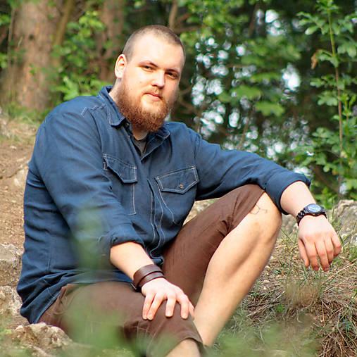 ZĽAVA! Ľanová košeľa Leslav modrá s vreckami