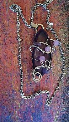 Náhrdelníky - Tepaný achátový náhrdelník. - 11234280_