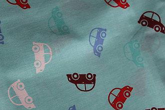 Textil - Mentolová bavlna s autíčkami  - 11233280_