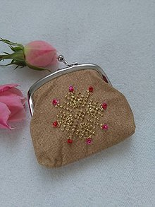 Peňaženky - Rubínová (ručne vyšívaná mincovka) - 11233071_