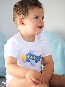 Detské oblečenie - body LIETADLO (dlhý/krátky rukáv) - 11231854_