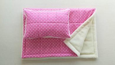 Textil - Vlnienka 100% Ovčie rúno Merino súprava do postieľky prikrývka 100x140 cm s Vankúšom 40 x 60 cm Hviezdička soft pink - 11232002_