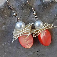 Náušnice - perleťové lososové krásky - 11234947_