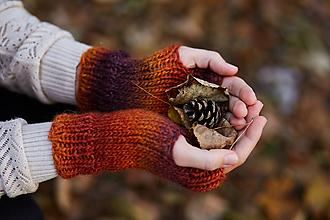 Rukavice - Hnedo-oranžovo-fialové bezprstové rukavice - 11231462_