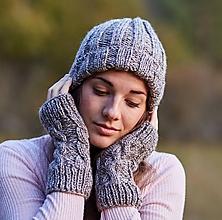 Čiapky - Svetlo-hnedá melírovaná čiapka + rukavice - 11234941_