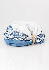 """Šatky - Dámsky elegantný kvetinový nákrčník """"BlueFloral"""" - 11231646_"""