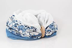 """Šatky - Dámsky elegantný kvetinový nákrčník """"BlueFloral"""" - 11231647_"""