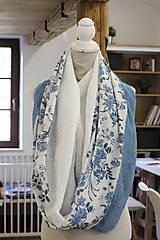 """Šatky - Dámsky elegantný kvetinový nákrčník """"BlueFloral"""" - 11231653_"""