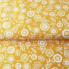 Textil - pevná bavlnená dekoračná látka Žlté kvety, šírka 140 cm - 11231597_