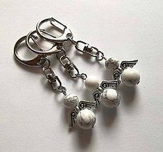 Kľúčenky - Minerálový anjelik - Howlit - 11231869_