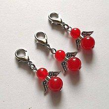 Kľúčenky - Minerálový minianjelik - Jadeit červená - 11233231_