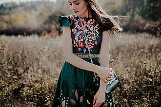 Šaty - zelené ľanové šaty Poľana - 11234287_