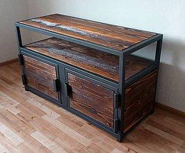 Nábytok - Industriálny dvojdverový TV stolík - 11234207_