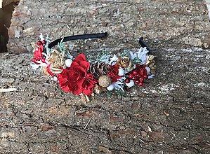 Ozdoby do vlasov - Vianočná čelenka-Červená kráska - 11235032_