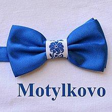 Doplnky - Dospelácky folklórny ľudový motýlik folk originálny tradičný, unisex, pánsky, dámsky, univerzal (Modrá) - 11233502_