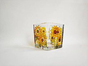 Svietidlá a sviečky - Sklenený svietnik maľovaný - slnečnice - 11232763_