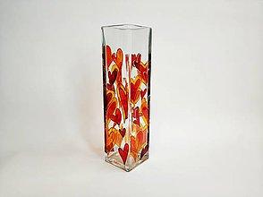 Dekorácie - Sklenená váza maľovaná - srdcia - 11232925_