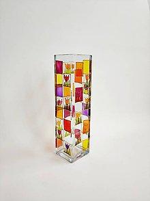 Dekorácie - Sklenená váza maľovaná - kvietky - 11232931_