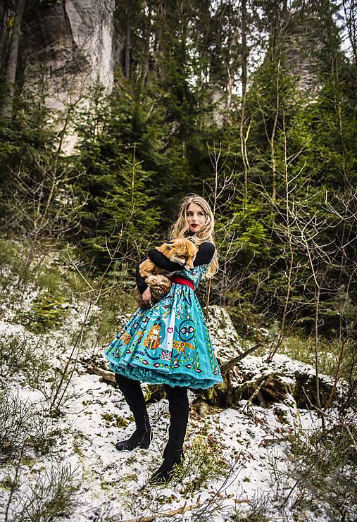 Šaty - PECKA tyrkysové šaty s liškou - 11234016_