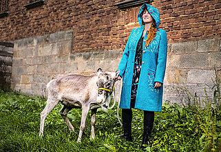 Kabáty - Vlněný kabát tyrkysový - 11233393_