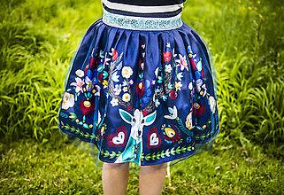 Sukne - PECKA tmavě modrá květinová - 11234330_