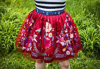 Sukne - PECKA červená květinová - 11234358_