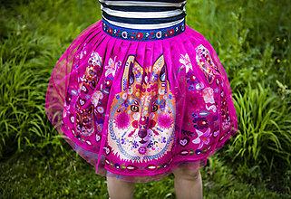 Sukne - PECKA růžová květinová s liškou - 11234393_