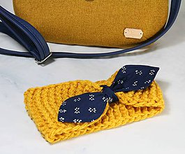 Čiapky - Čelenka žltá s modrotlačovou mašľou - 11232915_