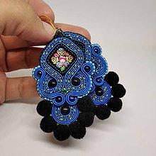 Náušnice - Náušničky s folk kabošonom (Modrá) - 11232500_