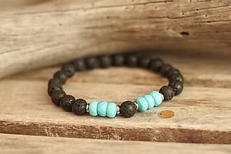 Šperky - Pánsky náramok z minerálu láva a tyrkenit - 11234061_